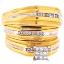 14K Yellow Gold 0.48 ct Diamond His Hers 3 Bridal Rings Set