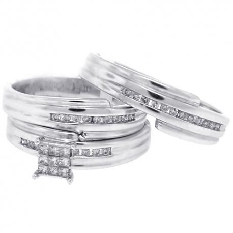 14K White Gold 0.30 ct Diamond Bride Groom 3 Wedding Rings Set