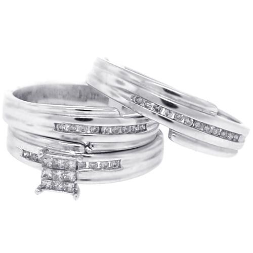 Diamond Wedding Rings Set Bride Groom 14K White Gold 030 ct