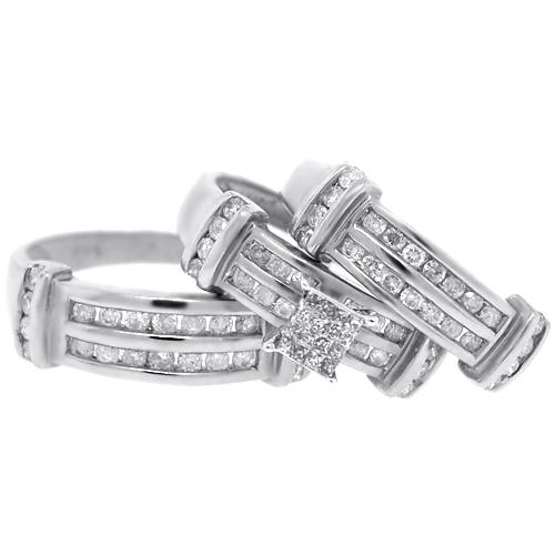 Mens Womens Diamond Wedding Bands Rings Set 14K Gold 134 ct