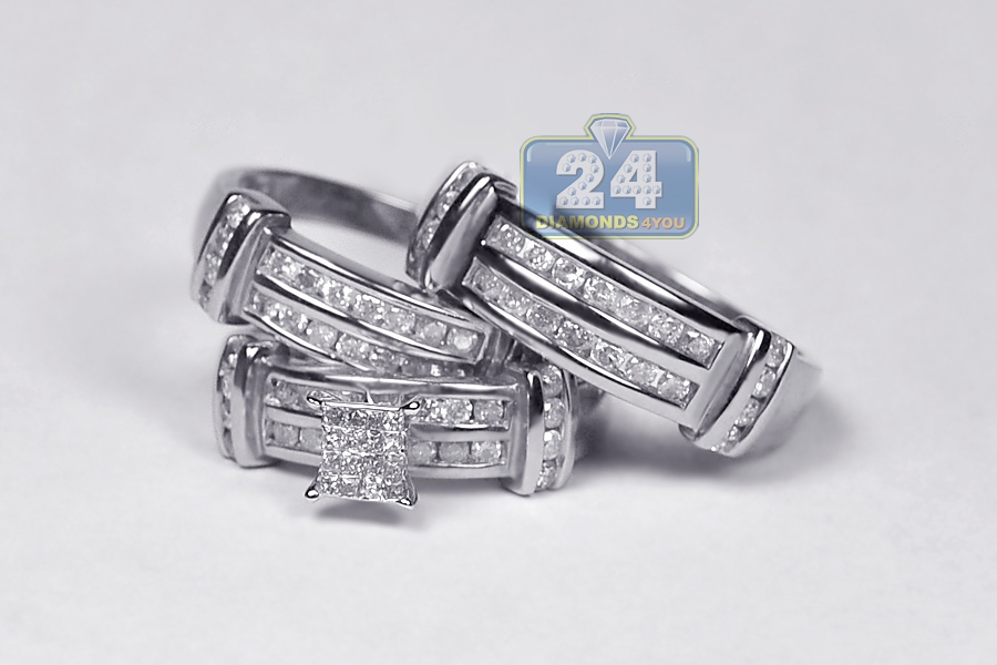 ... 14K White Gold 1.34 Ct Diamond Mens Womens Wedding Rings Set ...