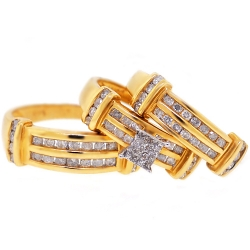 14K Yellow Gold 1.30 ct Diamond His Hers Wedding 3-Ring Set