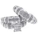 14K White Gold 2.63 ct Diamond Womens Mens Wedding 3-Ring Set