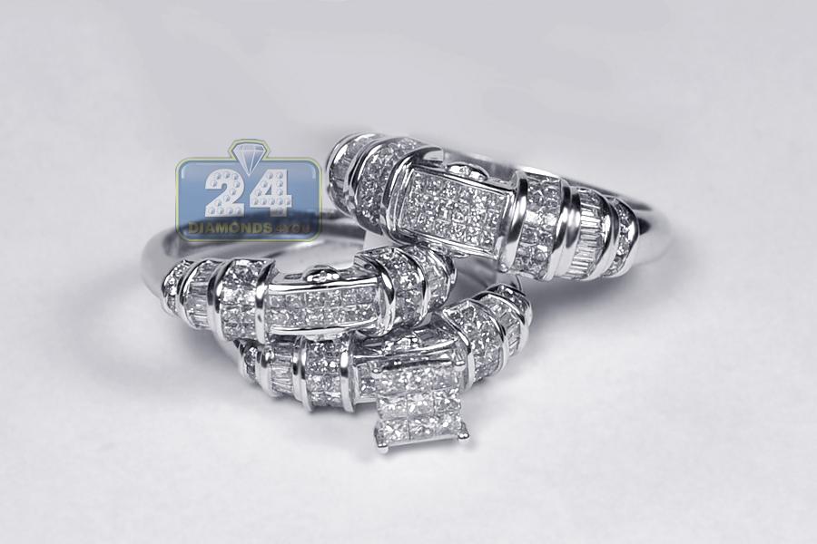 Womens Mens Diamond Wedding 3 Rings Set 14K White Gold 263ct