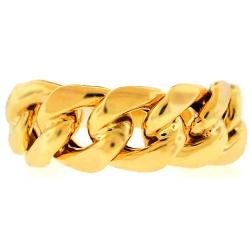 Mens Miami Cuban Curb Link Band Ring 10K Yellow Gold