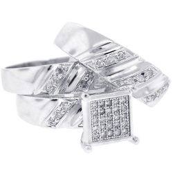 10K White Gold 0.70 ct Diamond Bride Groom Wedding 3-Ring Set