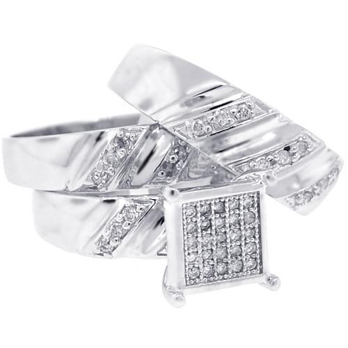Bride Groom Diamond 3Ring Wedding Set 10K White Gold 070 ct