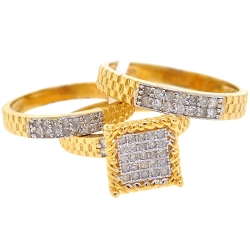 10K Yellow Gold 0.95 ct Diamond Mens Womens Bridal 3 Rings Set