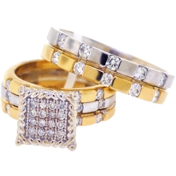 10K Two Tone Gold 1.65 ct Diamond His Hers Wedding 3 Rings Set