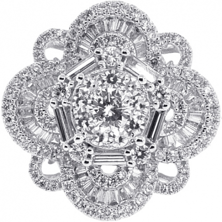 18K White Gold 2.41 ct Mixed Diamond Womens Cluster Ring