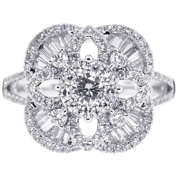 18K White Gold 1.42 ct Diamond Cluster Square Womens Ring