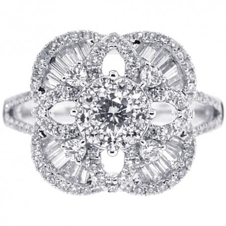 18K White Gold 1.42 ct Diamond Cluster Square Womens Ring