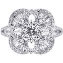 18K White Gold 1.42 ct Diamond Cluster Square Ring