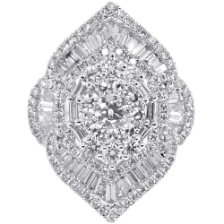 18K White Gold 2.72 ct Baguette Diamond Cluster Womens Ring