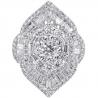 18K White Gold 2.72 ct Baguette Diamond Cluster Womens Ring