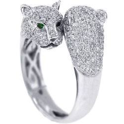 18K White Gold 1.70 ct Diamond Two Heads Womens Panther Ring