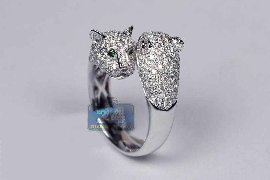 Womens Diamond Double Panther Animal Ring 18k Gold 1 70 Ct