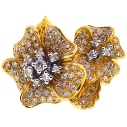 18K Yellow Gold 1.00 ct Diamond Two Flowers Womens Ring