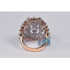 18K Rose Gold 3.01 ct Diamond Womens Wide Ring