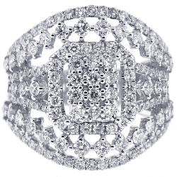 18K White Gold 2.20 ct Diamond Womens Wide Vintage Ring