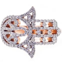 18K Rose Gold 0.58 ct Diamond Hamsa Hand Womens Ring