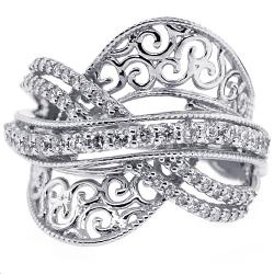 18K White Gold 0.80 ct Diamond Womens Crisscross Ring