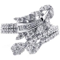 18K White Gold 1.16 ct Diamond Womens Bypass Ring