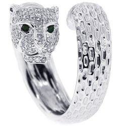18K White Gold 1.30 ct Diamond Panther Head Womens Ring