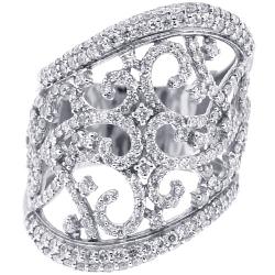 18K White Gold 2.16 ct Diamond Womens Openwork Wide Ring
