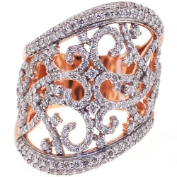 18K Rose Gold 2.18 ct Diamond Womens Openwork Wide Ring