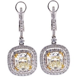 18K White Gold 5.12 ct Fancy Yellow Diamond Womens Earrings