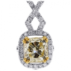 18K White Gold 2.36 ct Fancy Yellow Diamond Womens Halo Pendant