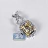 Womens Fancy Yellow Diamond Drop Pendant 18K White Gold 2.36 ct