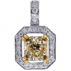 18K White Gold 2.34 ct Fancy Diamond Womens Solitaire Pendant