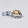 Womens Fancy Diamond Solitaire Halo Pendant 18K White Gold
