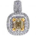 18K White Gold 2.61 ct Fancy Yellow Diamond Womens Drop Pendant