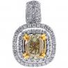 Womens Fancy Yellow Diamond Halo Drop Pendant 18K Gold 2.61 ct