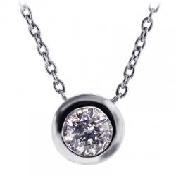 Womens Bezel Set Diamond Solitaire Drop Necklace 18K White Gold
