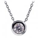 18K White Gold 0.85 ct Bezel Set Diamond Solitaire Pendant Necklace
