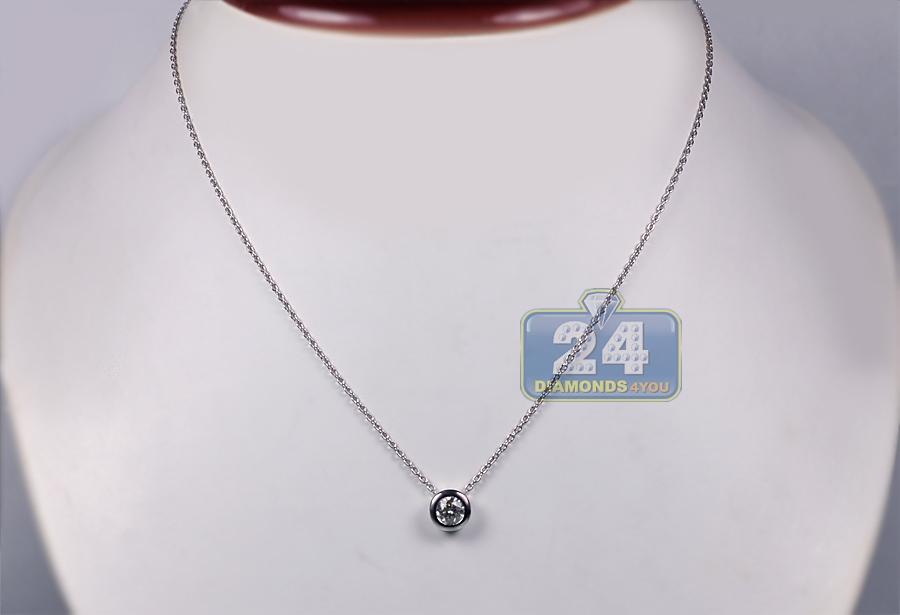 Womens Bezel Set Diamond Solitaire Drop Necklace 18k White