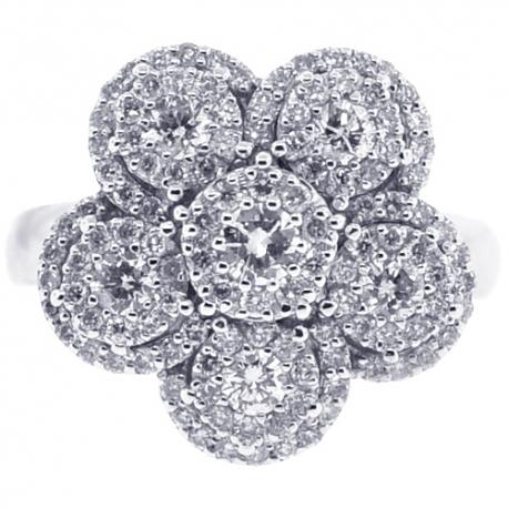 18K White Gold 1.21 ct Diamond Flower Womens Cluster Ring