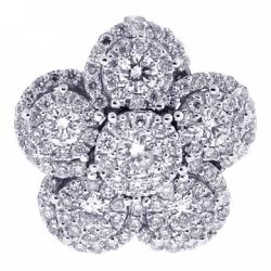 18K White Gold 1.33 ct Diamond Cluster Womens Flower Pendant