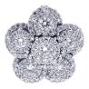 Womens Diamond Pave Cluster Flower Pendant 18K White Gold 1.33ct