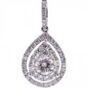 14K White Gold 1.00 ct Diamond Womens Teardrop Pendant