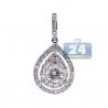 Womens Diamond Teardrop Dangle Pendant 14K White Gold 1.00ct