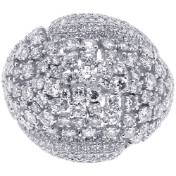 18K White Gold 4.03 ct Diamond Womens Dome Ring