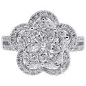 18K White Gold 1.51 ct Diamond Womens Flower Ring