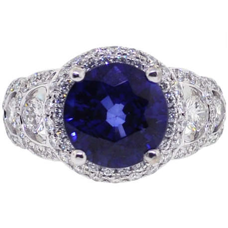 18K White Gold 4.62 ct Blue Sapphire Diamond Womens Ring