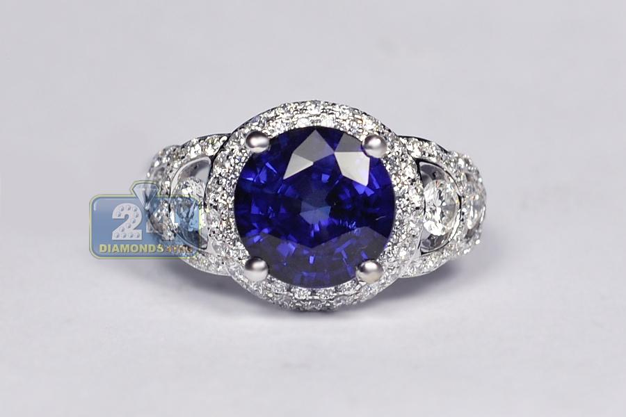 Ladies Blue Sapphire Diamond Engagement Ring 18K White Gold