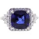 18K White Gold 6.08 ct Blue Sapphire Diamond Womens Ring
